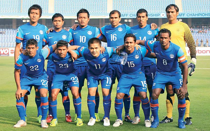 The Indian National Team side pictured with seven past Dempo Players in the starting eleven.